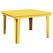 "Recycled Plastic 46"" Square Dining Table, Yellow, 47""L x 47""W x 31""H"
