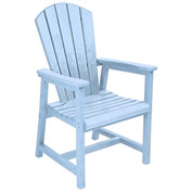 "Recycled Plastic Arm Dining Adirondack Style Chair, Sky Blue, 22""L x 22-1/2""W x 40""H"
