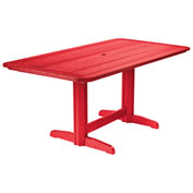"Recycled Plastic Double Pedestal Dining Table w/Base, Red, 72""L x 36""W x 31""H"