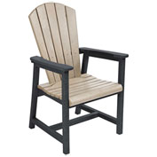 "Recycled Plastic Arm Dining Adirondack Style Chair, Beige/Black, 22""L x 22-1/2""W x 40""H"