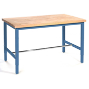 "Production Workbench - Birch Butcher Block Square Edge - Blue, 60""W x 30""D"