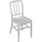 Aluminum Dining Chair, 3 Slat Back with Crossbar - Pkg Qty 2