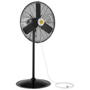 "24"" Outdoor Misting Oscillating Pedestal Fan, 3/10 HP, 7700 CFM"