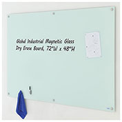 Magnetic Glass Dry Erase Board, White, 72 x 48