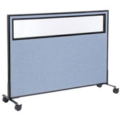 "60-1/4""W x 45""H Mobile Office Partition Panel with Partial Window, Blue"