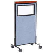 "24-1/4""W x 46-1/2""H Mobile Deluxe Office Partition Panel with Partial Window, Blue"