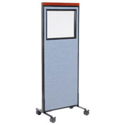 "24-1/4""W x 64-1/2""H Mobile Deluxe Office Partition Panel with Partial Window, Blue"