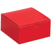"Gift Boxes, - 4"" x 4"" x 2"", Red, 100/Pk"