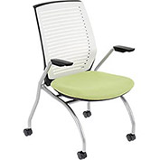 White Shell Chair with Arms & Green Fabric Seat - Pkg Qty 2