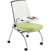 White Shell Nesting Chair with Tablet Arm & Green Fabric Seat - Pkg Qty 2