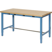 "Production Workbench with Power Apron - Birch Butcher Block Square Edge - Blue, 72""W x 36""D"