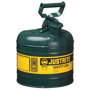 Justrite 7120400 Safety Can Type I, 2 Gallon Galvanized Steel, Green, Self-Close Lid