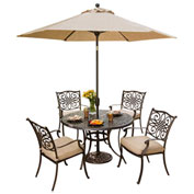 Traditions 5-Piece Outdoor Dining Set with Table Umbrella
