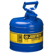 Justrite 7120300 Type I Steel Safety Can, 2 Gallon (7.5L), Self-Close Lid, Blue