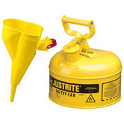 Justrite 7110210 Type I Steel Safety Can With Funnel, 1 Gallon (4L), Self-Close Lid, Yellow