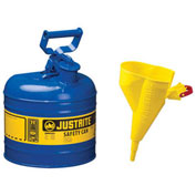 Justrite 7120310 Type I Steel Safety Can With Funnel, 2 Gallon (7.5L), Self-Close Lid, Blue
