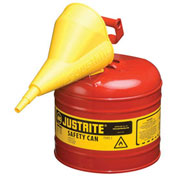 Justrite 7120110 Type I Steel Safety Can With Funnel, 2 Gallon (7.5L), Self-Close Lid, Red