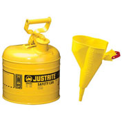 Justrite 7120210 Type I Steel Safety Can With Funnel, 2 Gallon (7.5L), Self-Close Lid, Yellow