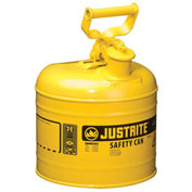 Justrite 7120200 Type I Steel Safety Can, 2 Gallon (7.5L), Self-Close Lid, Yellow