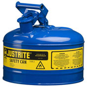 Justrite 7125300 Type I Steel Safety Can, 2.5 Gallon (9.5L), Self-Close Lid, Blue