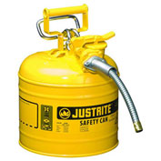 """Justrite 7220220 Type II AccuFlow Steel Safety Can, 2 Gal., 5/8"""" Metal Hose, Yellow"""
