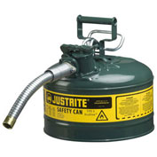 """Justrite 7225430 Type II AccuFlow Steel Safety Can, 2.5 Gal., 1"""" Metal Hose, Green"""