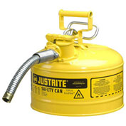 """Justrite 7225230 Type II AccuFlow Steel Safety Can, 2.5 Gal., 1"""" Metal Hose, Yellow"""