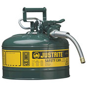 """Justrite 7225420 Type II AccuFlow Steel Safety Can, 2.5 Gal., 5/8"""" Metal Hose, Green"""
