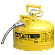 """Justrite 7225220 Type II AccuFlow Steel Safety Can, 2.5 Gal., 5/8"""" Metal Hose, Yellow"""