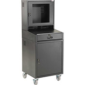 "Mobile Security LCD Computer Cabinet Enclosure, Black, Assembled, 24-1/2""W x 22-1/2""D x 62-3/4""H"