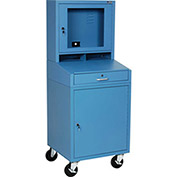 "Mobile Security LCD Computer Cabinet Enclosure, Blue, Assembled, 24-1/2""W x 22-1/2""D x 62-3/4""H"