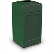 Commercial Zone Square Waste Receptacle, 42 Gallon, Green