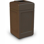 Commercial Zone Square Waste Receptacle, 42 Gallon, Brown