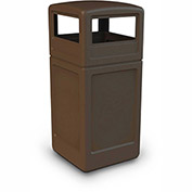 Commercial Zone Square Waste Container with Dome Lid, 42 Gallon, Brown