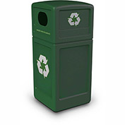 Commercial Zone Square Plastic Recycling Container, 42 Gallon, Green