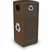 Commercial Zone Square Plastic Recycling Container, 42 Gallon, Brown