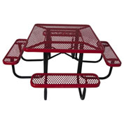 "46"" Steel Square Picnic Table, Surface Mount, Red"