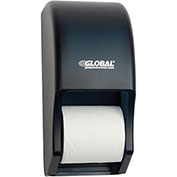 "Plastic Standard Double Toilet Tissue Dispenser - Two 5-1/4"" Rolls, Smoke Gray/Beige"