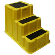 "3 Step Nestable Plastic Step Stand - Yellow 25-3/4""W x 42""D x 29""H"