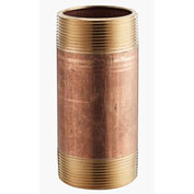 """1"""" x 4"""" Lead Free Seamless Red Brass Pipe Nipple, 140 PSI, Sch. 40"""