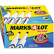 Avery® Marks-A-Lot Desk Style Dry Erase Markers, Chisel Tip, Assorted, 24/Pack