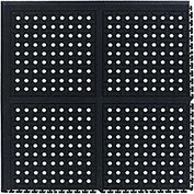 "Comfort Flow HD Modular Anti-Fatigue Tile w/Grit, Corner, Black, 37-3/8"" x 37-3/8"""