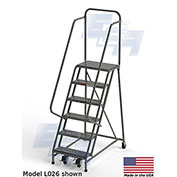 "EGA L008 Industrial Rolling Ladder 6-Step, 20"" Wide Perforated, Gray, 450Lb. Capacity"