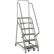 "EGA L026 Industrial Rolling Ladder 6-Step, 26"" Wide Perforated, Gray, 450Lb. Capacity"