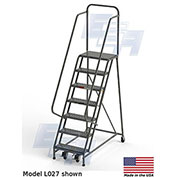"EGA L036 Industrial Rolling Ladder 7-Step, 26"" Wide Grip Strut, Gray, 450Lb. Capacity"
