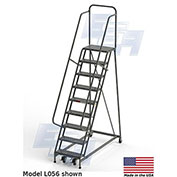 "EGA L056 Industrial Rolling Ladder 9-Step, 26"" Wide Perforated, Gray, 450Lb. Capacity"