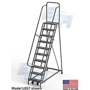 "EGA L084 Industrial Rolling Ladder 10-Step, 30"" Wide Grip Strut, Gray, 450Lb. Capacity"