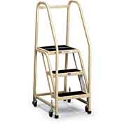 EGA F005 Office Ladder 3-Step, Rubber Surface, Almond 450Lb. Capacity