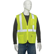 "Class 2 Hi-Vis Safety Vest, 2"" Silver Strips, Polyester Mesh, Lime, Size L"