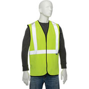 "Class 2 Hi-Vis Safety Vest, 2"" Silver Strips, Polyester Solid, Lime, Size S/M"
